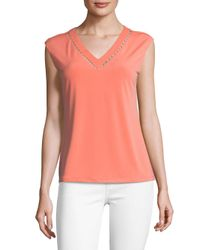 Calvin Klein - Pink Beaded Cutout V-neck Blouse - Lyst