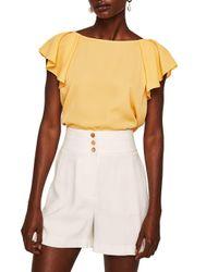 Mango - Yellow Anise Flutter-sleeve Blouse - Lyst