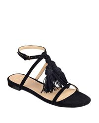 Marc Fisher - Black Crystal Tassel-accented Suede Sandals - Lyst