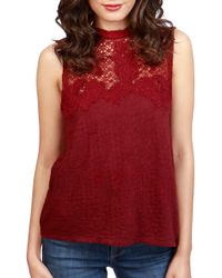 Lucky Brand | Red Marsala Cotton Floral Blouse | Lyst