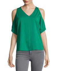 Ellen Tracy | Green Cold-shoulder V-neck Top | Lyst