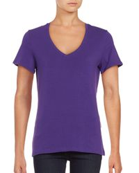 Lord & Taylor - Purple Cotton-stretch V-neck Tee - Lyst