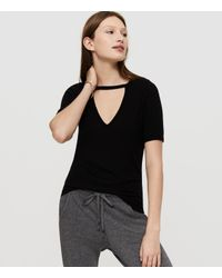 Lou & Grey | Black Lna Ribbed Cut Out V Tee | Lyst