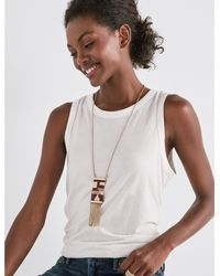Lucky Brand - Metallic Square Seed Bead Pendant Necklace - Lyst