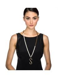 Lulu Frost - White Plaza Letter Necklace - Pearl Chain - Lyst