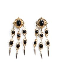 Lulu Frost | White *vintage* Long Black And Gold Clip-on Earrings | Lyst