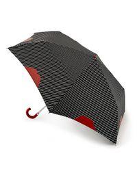 Lulu Guinness | Black Lip Pinstripe Superslim Umbrella | Lyst
