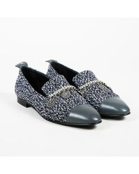 Chanel - Blue White Tweed Leather Cap Toe Chain Link Loafer Flats - Lyst