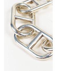 "Hermès - Metallic Sterling Silver ""alea Geant Chaine D'ancre"" Bracelet - Lyst"