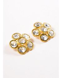 Chanel - Metallic Vintage Gold Tone Clear Oversized Jeweled Floral Earrings - Lyst