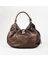 "Louis Vuitton - Brown ""metallic Mordore"" Monogram ""mahina"" Leather ""l Hobo"" Bag - Lyst"