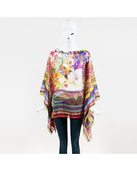 Etro - Multicolor Silk Floral & Paisley Printed Poncho Blouse - Lyst