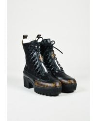 "Louis Vuitton - Black Leather Brown Monogram ""platform Desert"" Boots - Lyst"