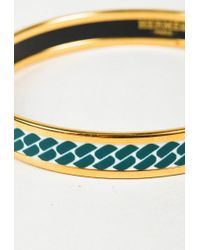 Hermès - Multicolor Blue & White Enamel Gold Plated Printed Narrow Bangle Bracelet - Lyst