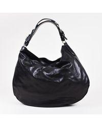 Ralph Lauren - Black & Silver Tone Leather Hobo Bag - Lyst