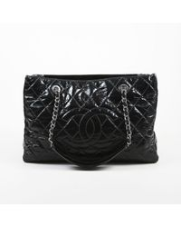 Women s Black Patent Leather Quilted Chain Handle  cc  Grand Shopping Tote  Bag e06ee6a8ccaa7