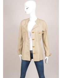 Chanel - Natural Khaki Gold Toned Coin Button Skirt Suit - Lyst