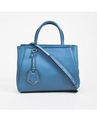 "Fendi - Blue Coated Leather Crossbody Top Handle Petite ""2jours"" Satchel - Lyst"