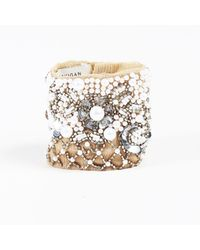 """Mignonne Gavigan - Natural Nwt """"nude"""" Beige Faux Pearl Bead & Sequined Cuff Bracelet - Lyst"""