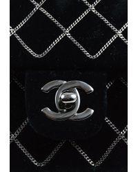 Chanel - 2004-2005 Black Velvet Chain Quilted 'cc' Single Flap Bag - Lyst
