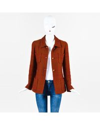 Chanel - 00a Red Brown Wool Patterned Gold Tone 'cc' Button Jacket - Lyst