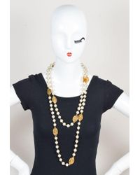 Chanel - Metallic Faux Pearls & Gold Tone Metal 'cc' Medallion Long Necklace - Lyst