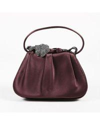 Rodo - Purple Pleated Satin Crystal Embellished Top Handle Bag - Lyst
