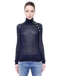Balmain - Blue Mohair Wool Blend Turtleneck Sweater - Lyst