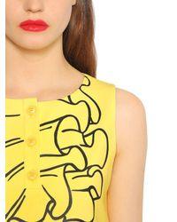Boutique Moschino - Black Printed Ruffle Techno Cady Dress - Lyst