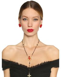 Dolce & Gabbana - Metallic Rose & Heart Rosary Necklace - Lyst