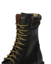 Givenchy - Black Leather Lace-up Military Boots for Men - Lyst