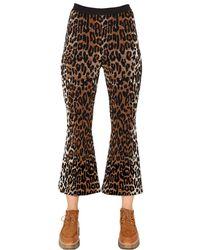 Stella McCartney - Black Flared Leopard Wool Blend Jacquard Pants - Lyst