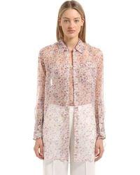 CALVIN KLEIN 205W39NYC - Pink Floral Printed Silk Shirt - Lyst