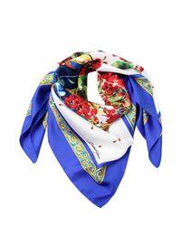 Dolce & Gabbana - Blue Flower Vase Silk Scarf - Lyst