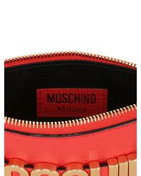 Moschino - Red Logo Lettering Leather Pouch - Lyst