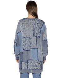 Stella McCartney - Blue Patchwork Cotton Knit & Denim Sweater - Lyst