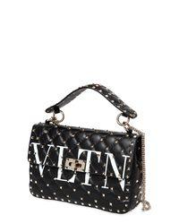 Valentino Black Spike. It Medium Vltn Logo Quilted Leather Shoulder Bag