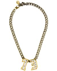 Lanvin - Metallic Swarovski Pendant Necklace - Lyst