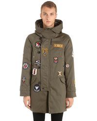 Peuterey - Green Marker Patches Canvas Parka for Men - Lyst