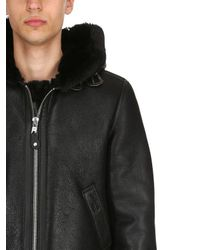 Schott Nyc - Black Lc 1259 Aviator Hooded Shearling Jacket for Men - Lyst