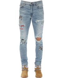 Amiri Blue 15cm Art Patch Cotton Denim Jeans for men