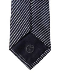 Giorgio Armani - Gray 8cm Striped Silk Tie for Men - Lyst