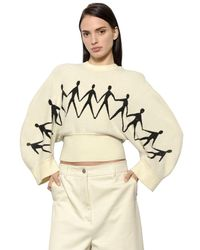 Sportmax | White Cropped Chenille Jacquard Knit Sweater | Lyst
