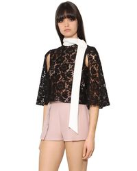 Valentino - Black Heavy Lace & Cady Cropped Cape Top - Lyst
