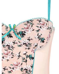 Blugirl Blumarine - Multicolor Floral Printed Jersey & Tulle Bustier - Lyst
