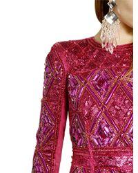 Balmain - Multicolor Crystal Drop Earrings - Lyst