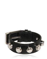Saint Laurent - Black Buckled Leather Bracelet - Lyst