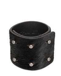 Rick Owens - Black 6cm Ponyskin 6 Pin Bracelet for Men - Lyst