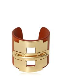 Tod's - Orange Leather And Metal Horse Bit Bracelet - Lyst