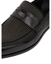 Jimmy Choo - Black Leather & Studded Suede Penny Loafers for Men - Lyst